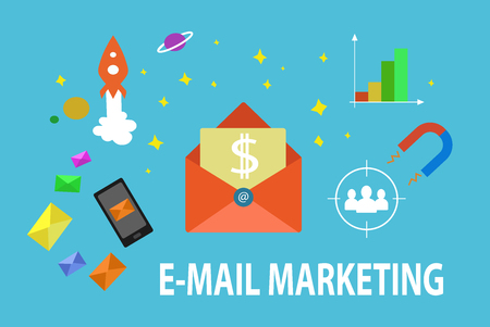 Vector flat email marketing illustration. Profit email marketing strategy banner.