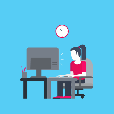 Smart girl typing on a computer vector flat illustration.