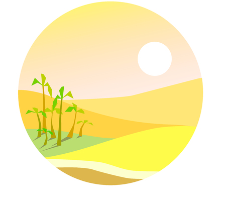 Flat desert illustration, yellow landscape with a small oasis.