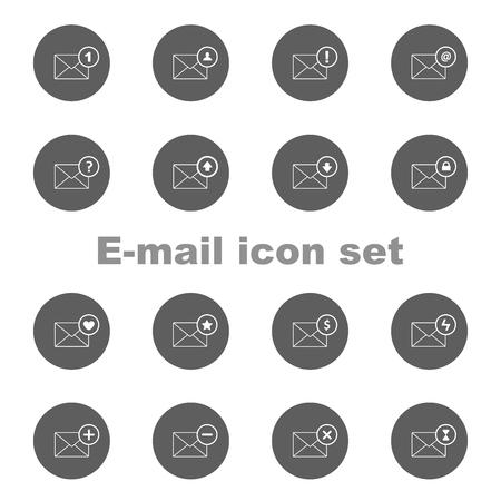 Outline e-mail icon set. isolé sur fond blanc Banque d'images - 93067680