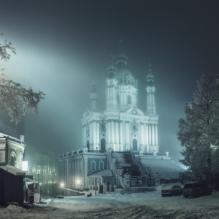 orthodoxy: Church of St. Andrew, winter evening