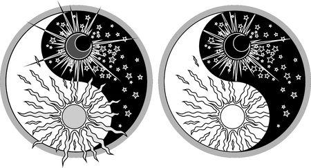 sonne mond und sterne: Yin Yang Symbol - sonnigen Tag versus Mond in der Nacht. Illustration