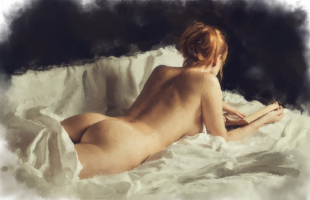 red bed: Beautiful nude girl with a book