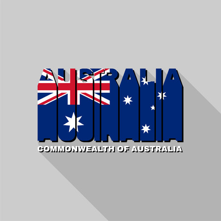commonwealth: Commonwealth of Australia  flag of the letters typography, t-shirt graphics, flat design. Illustration