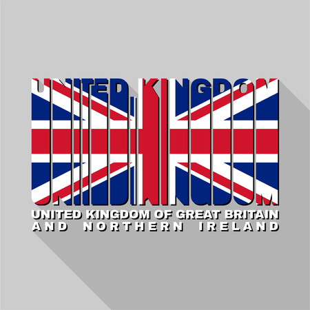 ireland cities: United Kingdom of Great Britain flag of the letters typography, t-shirt graphics, flat design.