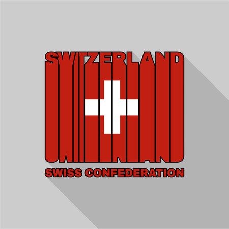swiss flag: Swiss Confederation flag of the letters typography, t-shirt graphics, flat design.