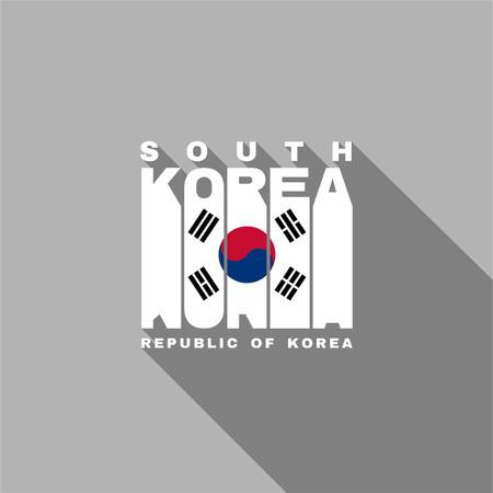 korea flag: South Korea flag of the letters typography, t-shirt graphics, flat design.