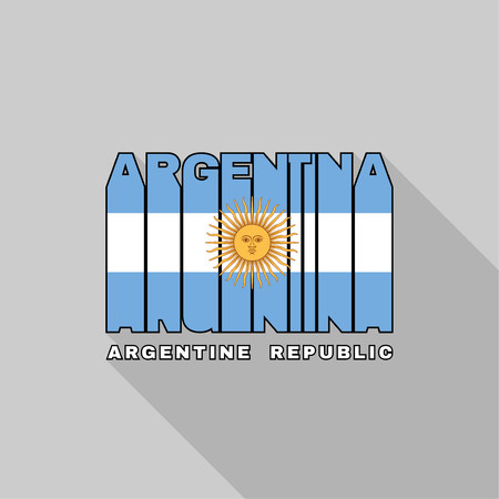 argentine: Argentine Republic flag of the letters typography, t-shirt graphics, flat design. Illustration
