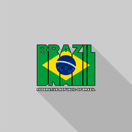federative republic of brazil: Federative Republic of Brazil flag of the letters typography, t-shirt graphics, flat design. Illustration