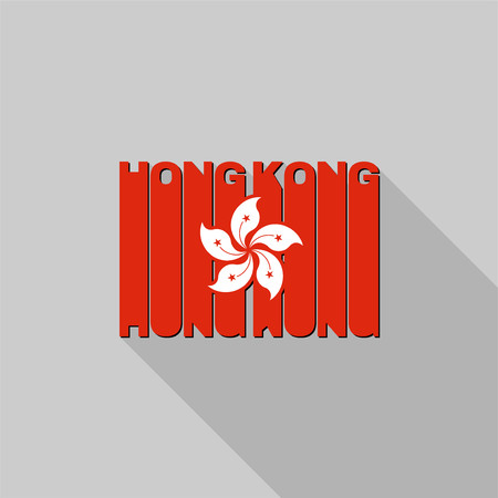 Hong Kong flag of the letters typography, t-shirt graphics, flat design. Vector