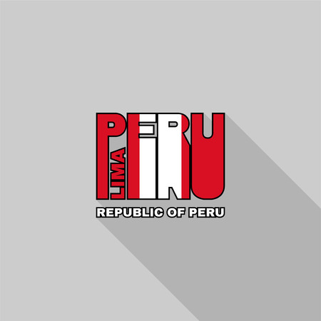 republic of peru: Republic of Peru flag of the letters typography, t-shirt graphics, flat design.