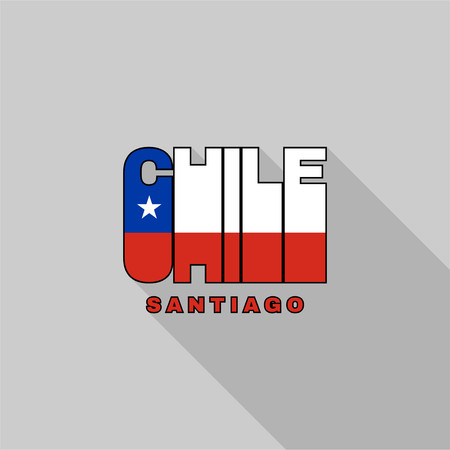 Chile flag of the letters typography, t-shirt graphics, flat design.