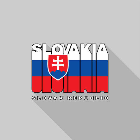 slovakia flag: Slovakia flag of the letters typography, t-shirt graphics, flat design. Illustration