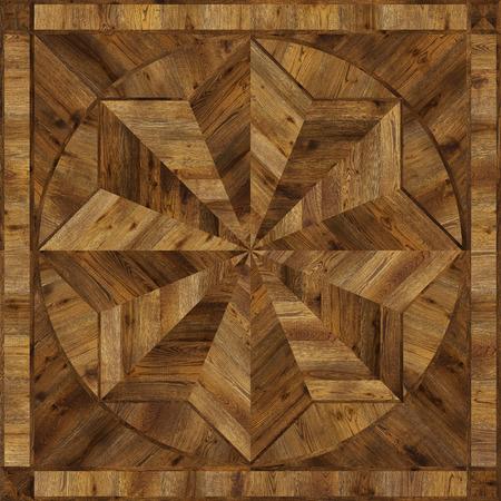 merbau: Medallion design grunge parquet floor, wooden seamless texture for 3D interior