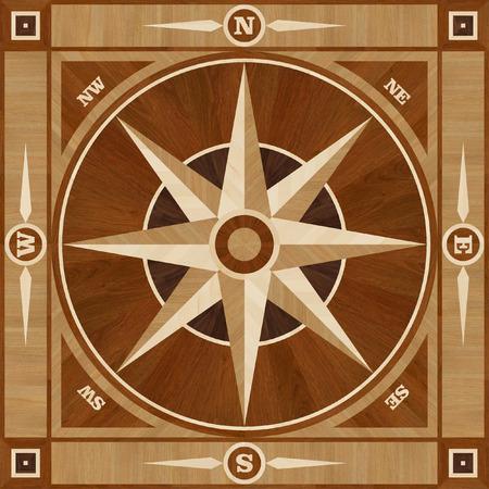 rosa dei venti: Medaglione pavimento progetto in parquet, Rosa dei venti, senza soluzione di texture in legno per interni 3D