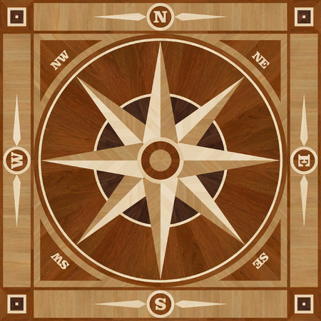 compass rose: Medallion design parquet floor, compass rose, wooden seamless texture for 3D interior Stock Photo