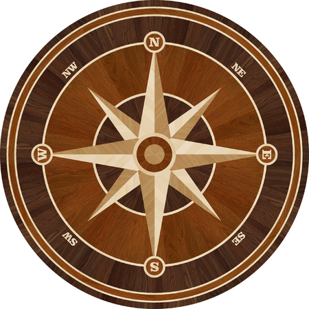 merbau: Medallion design parquet floor, compass rose, wooden seamless texture for 3D interior Stock Photo