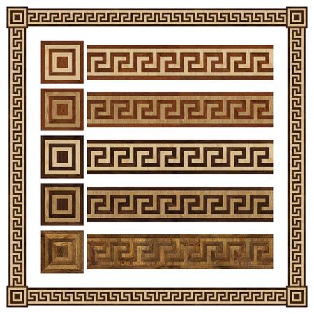 merbau: Wooden border ornament meandr, design  parquet floor, seamless texture for 3D interior