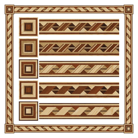 merbau: Wooden border ornament tape, design  parquet floor, seamless texture for 3D interior Stock Photo