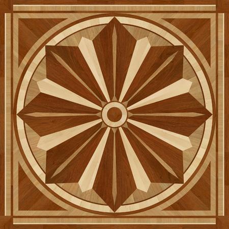 merbau: Medallion design parquet floor, wooden seamless texture for 3D interior Stock Photo