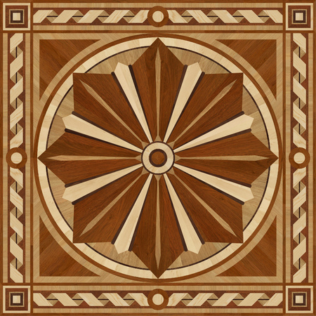 merbau: Medallion design parquet floor, wooden texture for 3D interior Stock Photo