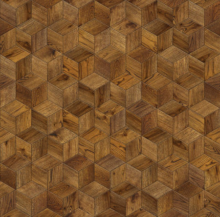 Natural wooden background cube 3d, grunge parquet flooring design seamless texture Фото со стока