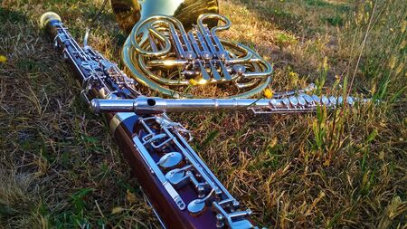 Three musical instruments horn, bassoon, flute on the grass. Archivio Fotografico