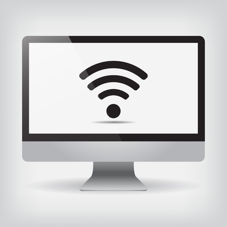 wi fi: Monitor Wi fi on screen vector illustration on gray background