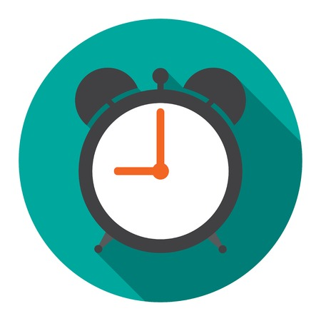 Alarm Clock in flat vector illustration Stock Illustratie