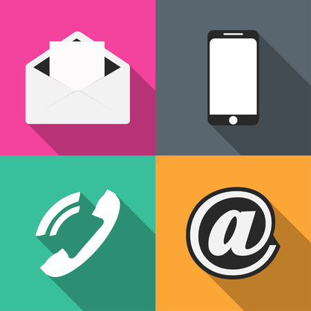 Set icons communication on colored backgrounds vector illustration Vector