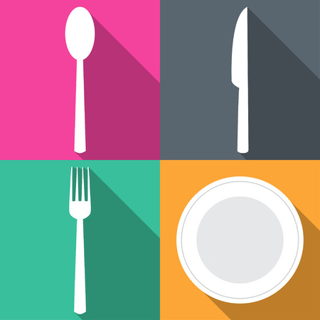Four backgrounds with dining items in flat vector illustration Illustration