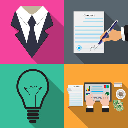 signing papers: Business icons on different backgrounds in flat vector illustration