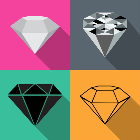 karat: Four different diamond on different backgrounds in flat vector