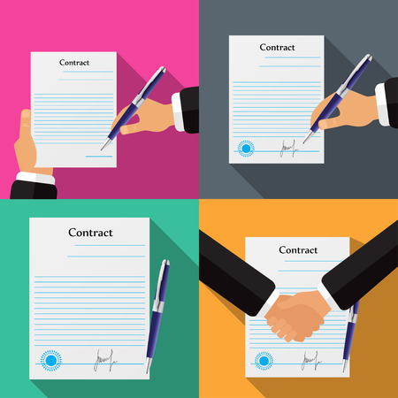 signing: Set of four different contracts, different backgrounds vector