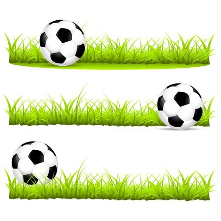 variants: Soccer ball on the grass in different variants vector illustration Illustration