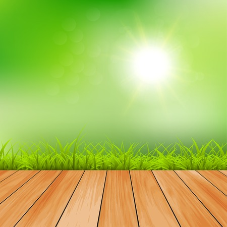 dia soleado: Fondo de verano día soleado ilustración vectorial verde