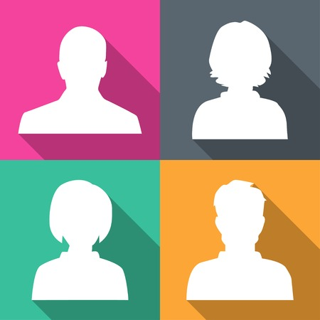 Silhouettes of men and women on different colored backgrounds vector illustration Vector