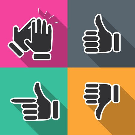 clap: Icons in flat hand gestures vector illustration Illustration