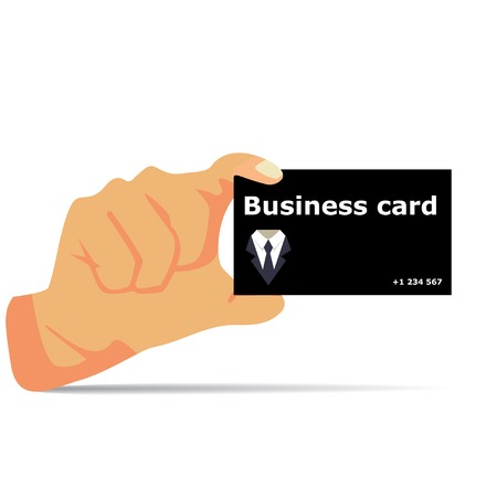 hand holding id card: Business card in hand with shadow vector