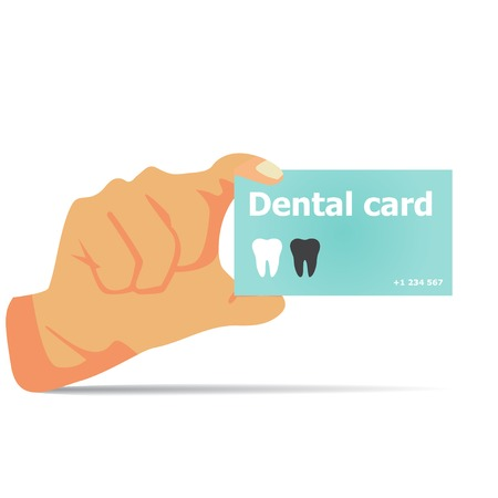 dental office: Card dentist in hand vector illustration with shadow