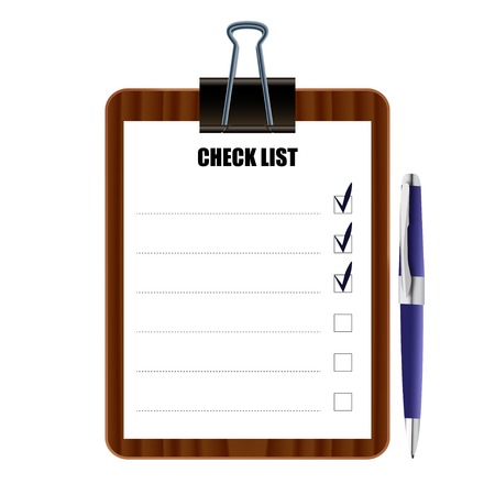 checklist icon: Check the list on the board attached to the handle vector illust