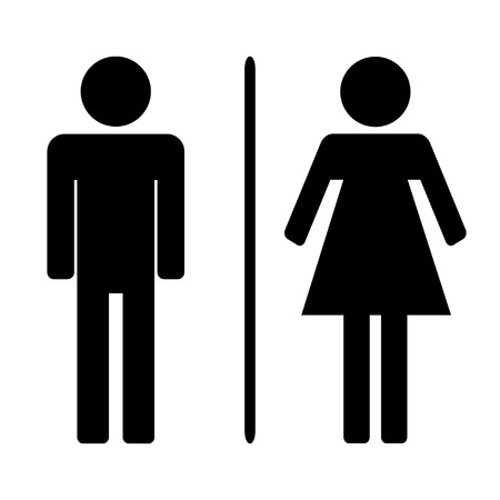 Male and ladies toilet vector illustration flat