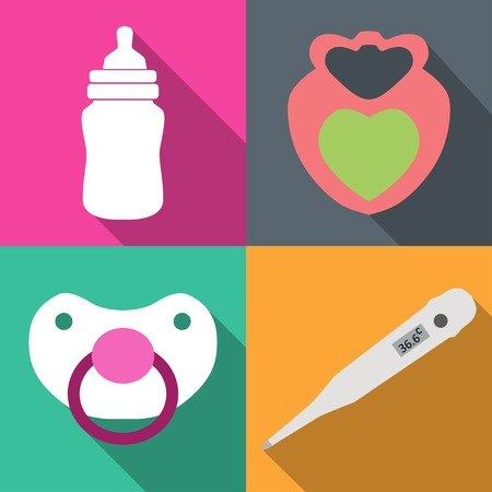 childcare: Icons childcare vector graphics on 4 colored backgrounds