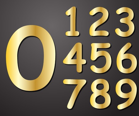 web 2 0: Digits gold in color from 0 to 9 on a gray background vector