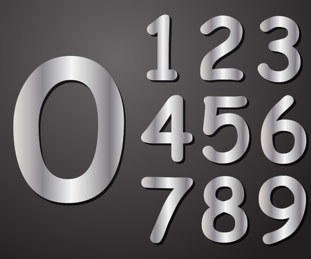 Digits in silver from 0 to 9, vector illustration Vector
