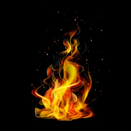 Realistic fire on a black background vector Иллюстрация