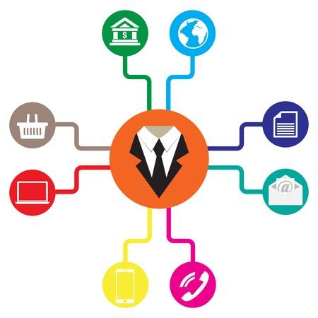 komunikace: Obchodní ikony byt vektorové ilustrace Komunikace