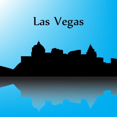 las vegas city: Las Vegas contour of the city with a shadow, blue background
