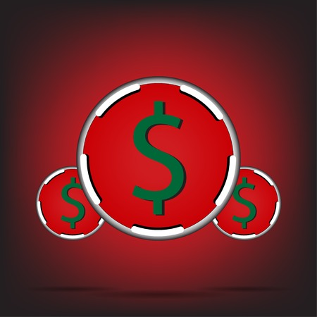 Dollar chips on red-black background Vector