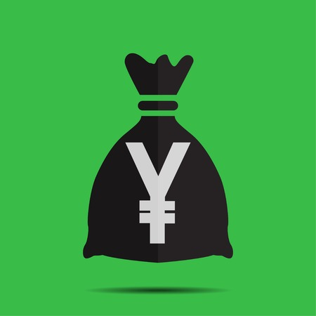 Bag with the yen on a green background Illustration